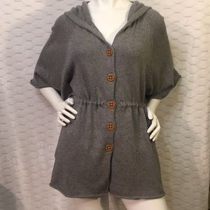 Anthro Sparrow Grey Sweater with Zipper Hoodie  S